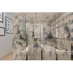 Paravent suspendu asiatique ton sépia - Les bambous et calligraphie chinoise