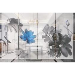 Rideau séparatif fleur zen - Lotus bleu et ses feuilles en gris et noir