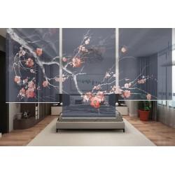 Cloison japonaise bleue foncée - L'arbre de mei en floraison