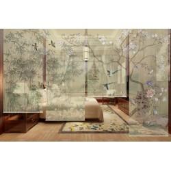 Cloison vert pastel motif bambous, fleurs et oiseaux, ambiance printanière
