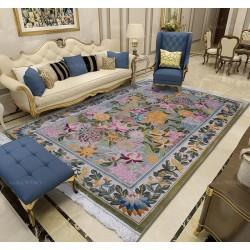 Tapis floral ton rose en soie naturelle salon chambre, velours en relief