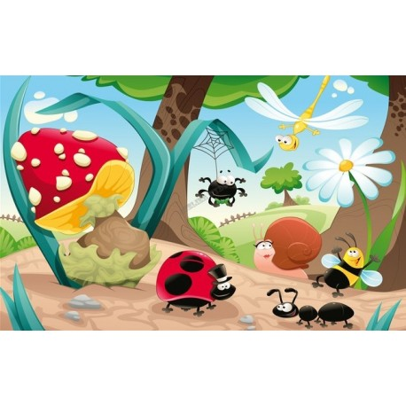 Papier peint personnalis tapisserie num rique paysage enfant dr les les petites b tes for Les accessoire chambre bebe oran
