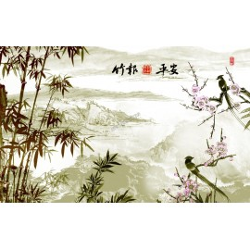 Papier peint chinois-Les oiseaux et les bambous 4