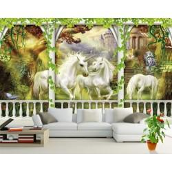 Papier peint 3D fantaisie-Les licornes dans le jardin