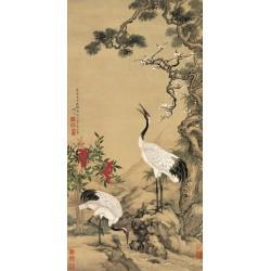 Peinture asiatique aspect ancien paysage zen les grues japonais