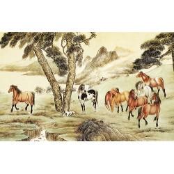 Papier peint chinois - Les 8 chevaux