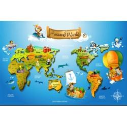 Papier peint 3D éducatif pour enfant - Carte du monde
