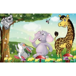 Décoration murale papier peint pour bébé et enfant-Les animaux de la savane