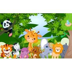 Décoration murale papier peint tapisserie pour bébé et enfant - Les animaux de la forêt