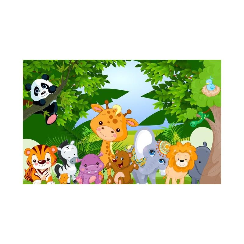 D coration murale papier peint personnalis tapisserie num rique paysage pour b b enfant les - Decoration animaux de la jungle ...