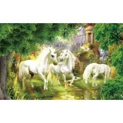 papier peint fantaisie-Les licornes dans le jardin
