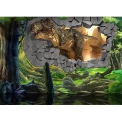 Papier peint tapisserie effet 3D spécial dinosaure - Sortie du Crétacé