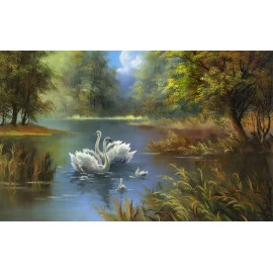 Papier peint d'artiste tapisserie romantique-Les cygnes sur lac