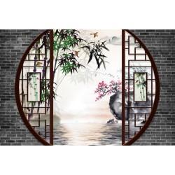Papier peint 3D asiatique paysage zen - Jardin traditionnel chinois