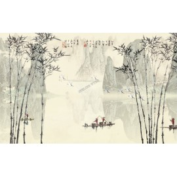 Papier peint chinois effet sépia - Les bambous 4