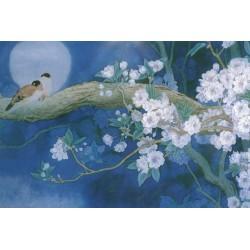 Papier peint asiatique esprit Zen-Les fleurs de cerisier et les oiseaux dans la nuit