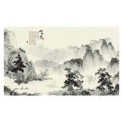 Papier peint asiatique paysage zen en noir et blanc - Dans la montagne
