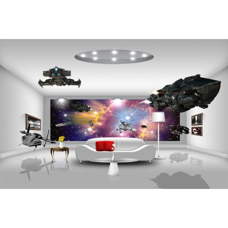 Papier peint 3d poster g ant tapisserie num rique for Interieur vaisseau spatial