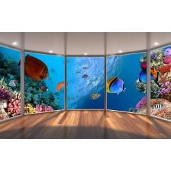 Papier peint 3D paysage fond marin - La barrière de corail