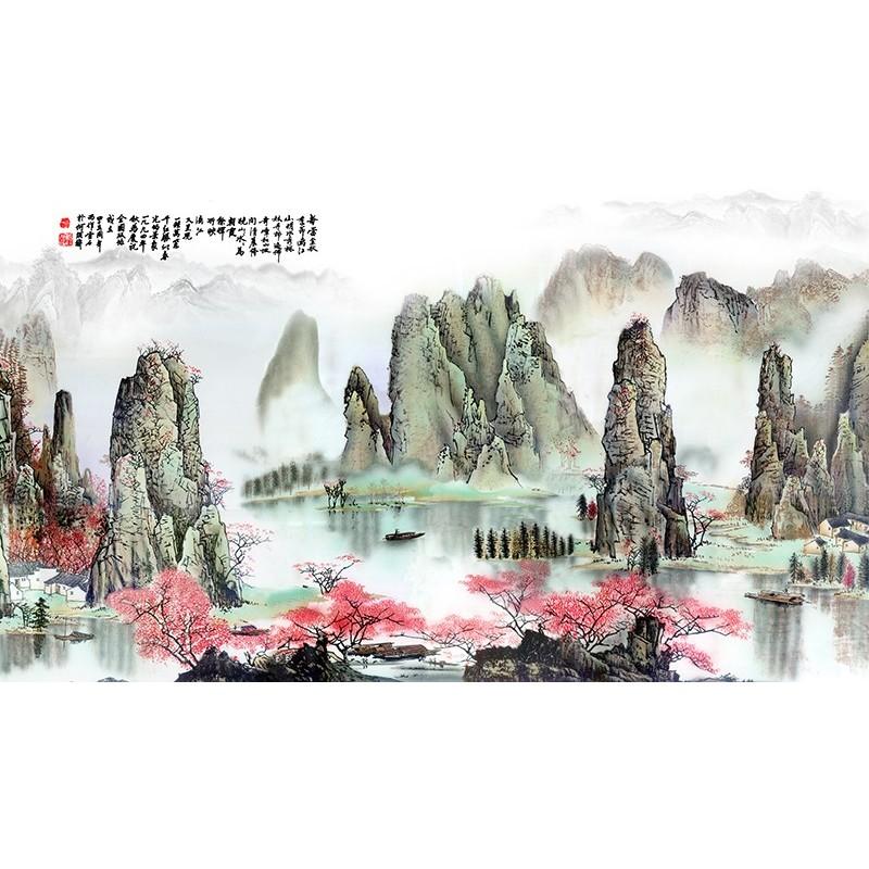 papier peint personnalis style chinois paysage asiatique le printemps papier peint sol 3d. Black Bedroom Furniture Sets. Home Design Ideas