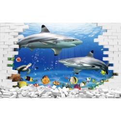 Papier peint 3D-Fond marin-Les requins