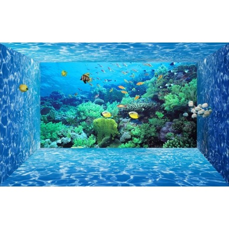 papier peint 3d fond marin effet aquarium tapisserie num rique sur mesure papier peint sol 3d. Black Bedroom Furniture Sets. Home Design Ideas