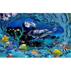 Papier peint effet 3D-Paysage fond marin avec les dauphins