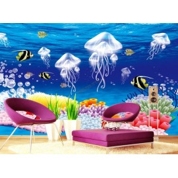 Décoration murale papier peint fond marin chambre d'enfant-Les méduses