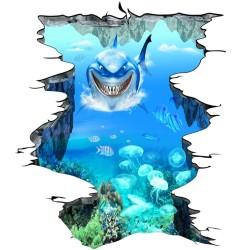 Revêtement sol trompe l'oeil 3D - Requin dans le trou