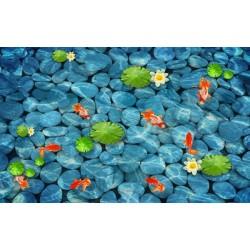 Revêtement sol zen - les nénuphars et  les poissons