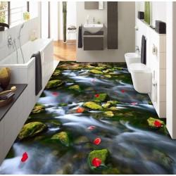 Revêtement sol zen romantique - La pluie de pétales sur la petite rivière