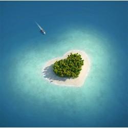 Revêtement sol zen romantique - L'île en forme de cœur  dans l'océan