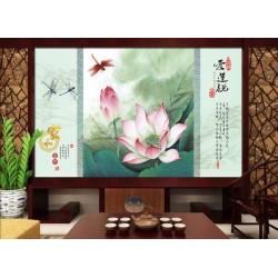 Papier peint asiatique paysage zen - Les lotus et les libellules