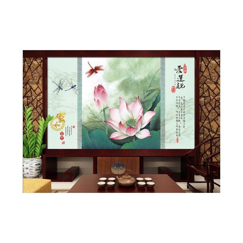 Papier peint chinois sur mesure paysage zen les lotus et for Paysage zen