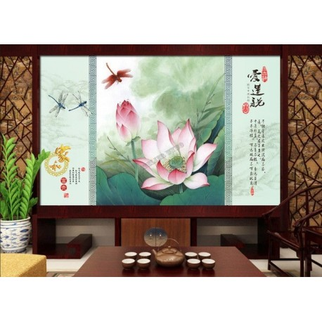 papier peint chinois sur mesure paysage zen les lotus et les libellules. Black Bedroom Furniture Sets. Home Design Ideas