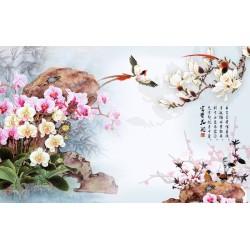 Papier peint tapisserie florale style asiatique - Les orchidées, les magnolias et les oiseaux