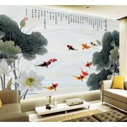 Papier peint chinois - Les lotus et les poissons, effet sur marbre