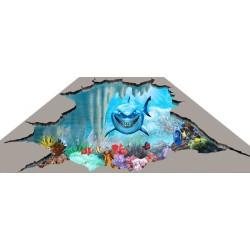 Revêtement sol trompel'oeil effet 3D pour enfant - Le requin 3