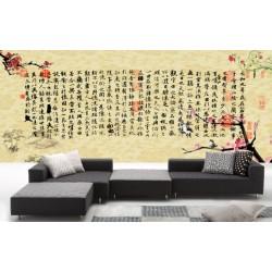 Papier peint tapisserie asiatique aspect ancien  - Calligraphie chinoise