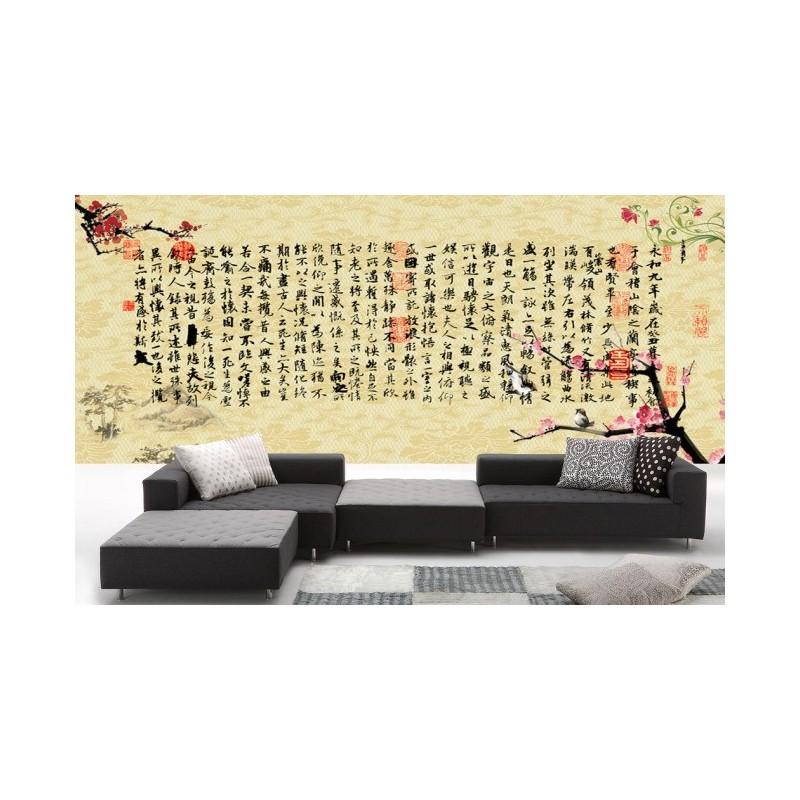 papier peint vintage asiatique calligraphie chinoise. Black Bedroom Furniture Sets. Home Design Ideas