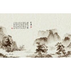 Papier peint tapisserie asiatique effet sépia - Paysage avec poème en noir et blanc sur marbre