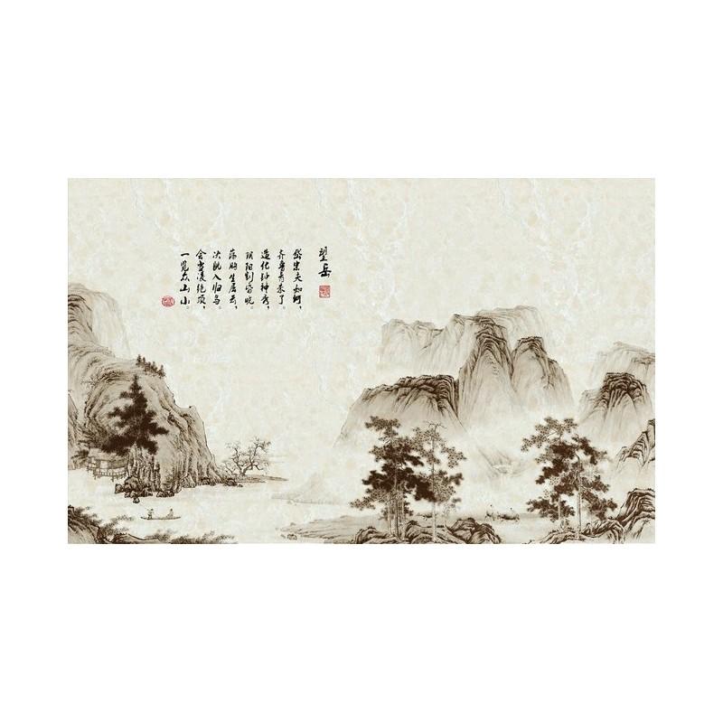 Papier peint tapisserie asiatique en noir et blanc paysage avec po me sur marbre - Peinture sur papier peint existant ...