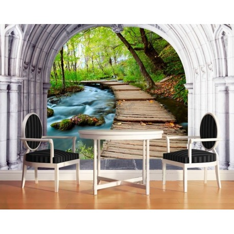 papier peint 3d personnals paysage zen petit pont sur la. Black Bedroom Furniture Sets. Home Design Ideas