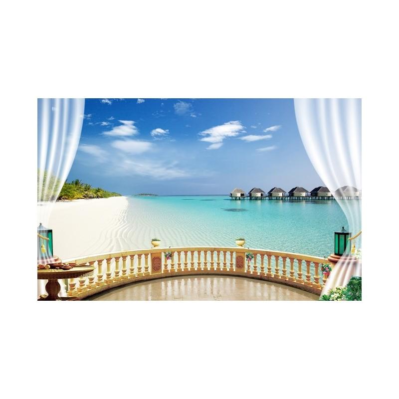 papier peint romantique trompe l 39 oeil effet 3d paysage tropical papier peint sol 3d. Black Bedroom Furniture Sets. Home Design Ideas