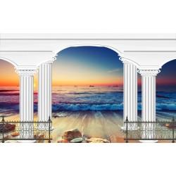 Paysage magnifique trompe l'oeil effet 3D-La mer au coucher du soleil