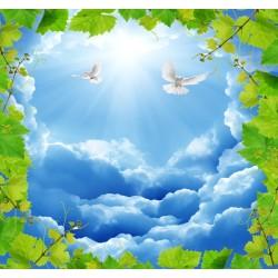 Plafond  tendu paysage - Le ciel bleu avec les oiseaux