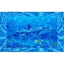 Décoration plafond - Fond marin - Maman dauphin avec son enfant