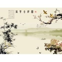 Papier peint chinois esprit Zen - Paysage avec le poème, les fleurs et les bambous