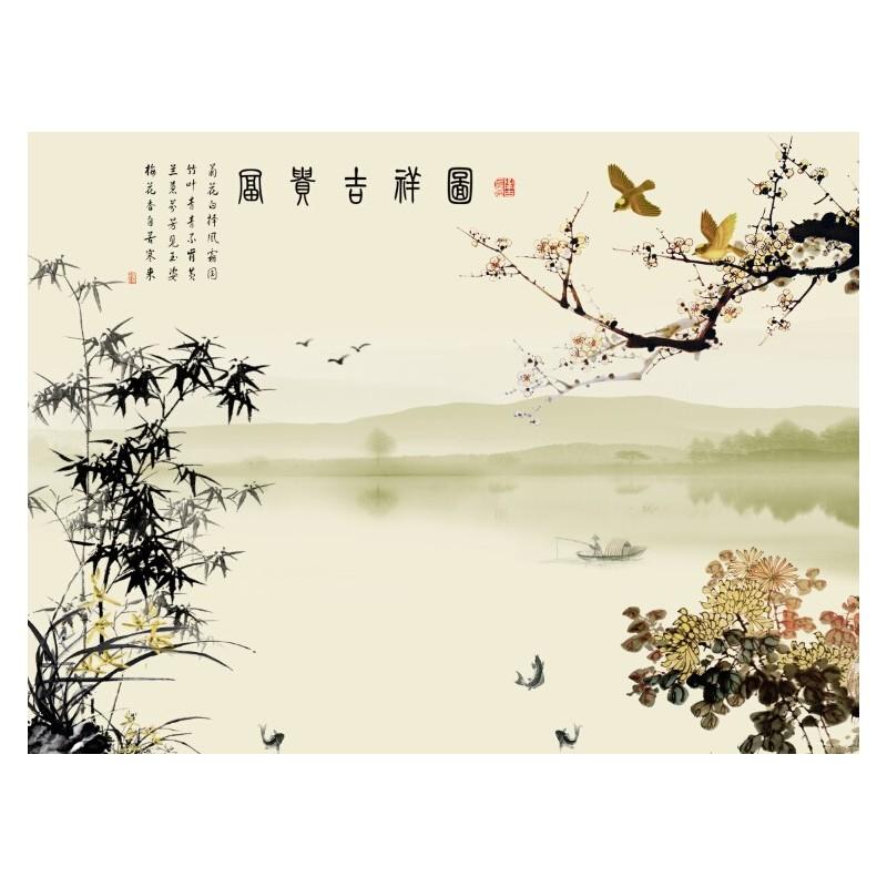 papier peint chinois tapisserie panoramique paysage avec le po me les fleurs et les bambous. Black Bedroom Furniture Sets. Home Design Ideas