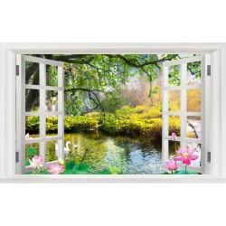 Tapisserie trompe l'oeil effet 3D - Paysage zen avec les lotus